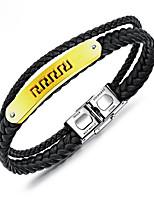 abordables -Homme Tressé Loom Bracelet - Acier au titane, Plaqué or Forme de Lettres Elégant, Européen Bracelet Noir Pour Quotidien