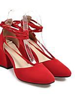 Недорогие -Жен. Балетки Замша Лето Обувь на каблуках На толстом каблуке Бежевый / Серый / Красный