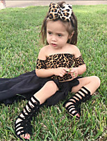 cheap -Kids / Toddler Girls' Solid Colored / Leopard Short Sleeve Clothing Set