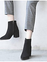 Недорогие -Жен. Fashion Boots Замша Осень Ботинки На толстом каблуке Закрытый мыс Ботинки Черный / Миндальный