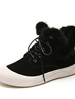 billiga -Dam Fashion Boots Mocka Vinter Ljuv Stövlar Promenad Platt klack Rundtå Korta stövlar / ankelstövlar Svart / Mörkbrun