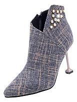 Недорогие -Жен. Fashion Boots Хлопок Осень На каждый день Ботинки На шпильке Сапоги до середины икры Стразы Черный / Серый / Темно-коричневый