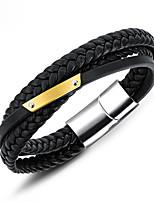 Недорогие -Муж. Плетение Loom браслет - Позолота 18К, Титановая сталь, Платиновое покрытие Винтаж, европейский Браслеты Черный Назначение Повседневные