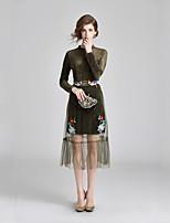 Недорогие -Жен. Классический Оболочка Платье - Цветочный принт, Вышивка Средней длины
