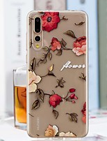 Недорогие -Кейс для Назначение Huawei P20 Pro / P20 lite Прозрачный / С узором Кейс на заднюю панель Цветы Мягкий ТПУ для Huawei P20 / Huawei P20 Pro / Huawei P20 lite