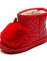 Недорогие -Девочки Обувь Полиуретан Наступила зима Зимние сапоги Ботинки Для прогулок для Дети Черный / Красный / Розовый