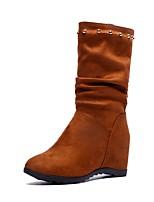Недорогие -Жен. Fashion Boots Полиуретан Осень Ботинки Гетеротипическая пятка Круглый носок Ботинки Черный / Коричневый / Вино