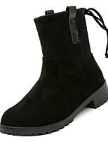 Недорогие -Жен. Армейские ботинки Замша Осень На каждый день Ботинки На низком каблуке Сапоги до середины икры Черный