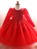Недорогие -малыш Девочки Однотонный Длинный рукав Платье