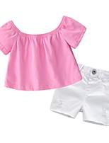 Недорогие -Дети (1-4 лет) Девочки Однотонный С короткими рукавами Набор одежды