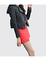 cheap -Women's Jacket - Solid Colored Shirt Collar
