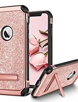 Недорогие -Кейс для Назначение Apple iPhone X / iPhone XS Защита от удара / со стендом / Покрытие Кейс на заднюю панель Сияние и блеск Твердый Кожа PU / ПК для iPhone XS / iPhone X