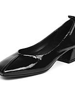 Недорогие -Жен. Балетки Наппа Leather Лето Обувь на каблуках На толстом каблуке Черный / Бежевый / Красный