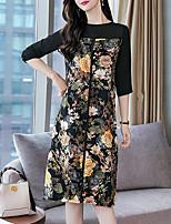 baratos -Mulheres Moda de Rua / Sofisticado Reto Vestido Xadrez Altura dos Joelhos Margarida