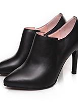 Недорогие -Жен. Комфортная обувь Наппа Leather Весна & осень Минимализм Обувь на каблуках На шпильке Черный / Красный / Миндальный