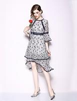 Недорогие -Жен. Элегантный стиль Вспышка рукава Оболочка Платье - Цветочный принт, С принтом Средней длины