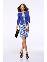 baratos -Mulheres Vintage / Básico Evasê / Tubinho Vestido - Estampado, Floral Acima do Joelho