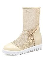 Недорогие -Жен. Комфортная обувь Полиуретан Весна лето Ботинки Платформа Белый / Черный / Бежевый