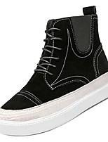 Недорогие -Жен. Армейские ботинки Полиуретан Осень На каждый день Ботинки На плоской подошве Сапоги до середины икры Черный / Верблюжий