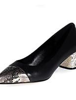 baratos -Mulheres Sapatos Confortáveis Pele Napa Primavera Saltos Salto Robusto Preto