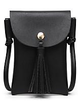 Недорогие -Жен. Мешки PU Мобильный телефон сумка С кисточками Сплошной цвет Розовый / Серый / Коричневый