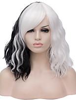Недорогие -Wig Accessories Кудрявый Средняя часть Искусственные волосы 16 дюймовый Модный дизайн Черный / Белый Парик Жен. Короткие Без шапочки-основы Черный / Белый