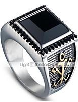 economico -Per uomo Vintage 3D Band Ring - Acciaio al titanio Vintage, Punk 9 / 10 Oro / Argento Per Halloween Quotidiano Strada
