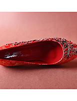 baratos -Mulheres Sapatos Confortáveis Cetim Verão Saltos Salto Agulha Vermelho