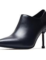 Недорогие -Жен. Fashion Boots Наппа Leather Осень Ботинки На шпильке Закрытый мыс Ботинки Черный / Красный