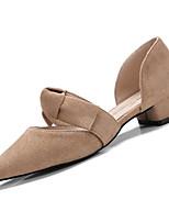 Недорогие -Жен. Балетки Полиуретан Осень Обувь на каблуках На толстом каблуке Заостренный носок Черный / Розовый / Миндальный / Повседневные
