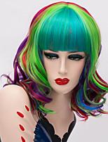 Недорогие -Косплэй парики / Аксессуары для костюмов / Парики из искусственных волос Кудрявый Стрижка каскад Искусственные волосы 16 дюймовый Кейс / Модный дизайн / Для вечеринок Синий / Зеленый Парик Жен.