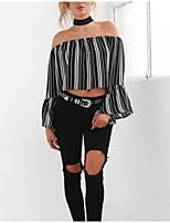 Недорогие -женская блузка - полосатая плечо