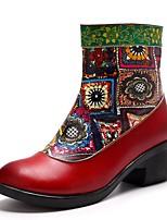 Недорогие -Жен. Комфортная обувь Кожа Зима Ботинки На толстом каблуке Красный