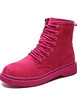 Недорогие -Жен. Армейские ботинки Замша Наступила зима Ботинки Для прогулок На низком каблуке Круглый носок Ботинки Черный / Пурпурный