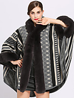 cheap -Long Sleeve Faux Fur / Core Spun Yarn Wedding / Party / Evening Women's Wrap With Printing Capes