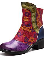 Недорогие -Жен. Комфортная обувь Наппа Leather Весна & осень Винтаж Ботинки На толстом каблуке Сапоги до середины икры Лиловый
