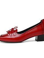 Недорогие -Жен. Комфортная обувь Наппа Leather Осень Обувь на каблуках На толстом каблуке Черный / Коричневый / Красный