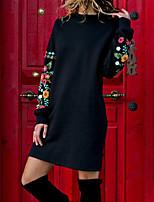 baratos -Mulheres Básico / Moda de Rua Reto Vestido - Estampado, Sólido Acima do Joelho