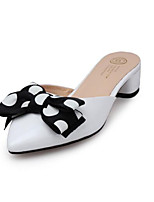 baratos -Mulheres Sapatos Confortáveis Pele Napa Verão Saltos Salto Robusto Branco / Rosa claro