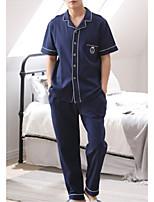 abordables -Col de Chemise Costumes Pyjamas Homme Couleur Pleine