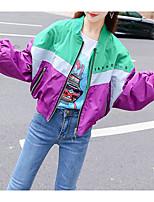 cheap -Women's Street chic Jacket - Color Block / Letter