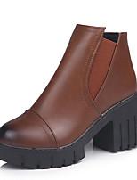 Недорогие -Жен. Fashion Boots Полиуретан Осень Минимализм Ботинки На толстом каблуке Круглый носок Ботинки Черный / Серый / Темно-коричневый