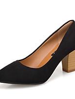 Недорогие -Жен. Балетки Полиуретан Осень Обувь на каблуках На толстом каблуке Заостренный носок Черный / Коричневый / Повседневные