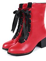 Недорогие -Жен. Армейские ботинки Полиуретан Наступила зима Ботинки На толстом каблуке Круглый носок Сапоги до середины икры Бежевый / Желтый / Красный