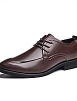 Недорогие -Муж. Комфортная обувь Полиуретан Лето Английский Туфли на шнуровке Доказательство износа Черный / Коричневый
