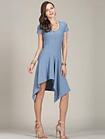 Недорогие -Жен. Уличный стиль / Элегантный стиль С летящей юбкой / Трикотаж Платье Ассиметричное