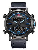 Недорогие -NAVIFORCE Муж. Спортивные часы Наручные часы Японский Японский кварц 30 m Защита от влаги Календарь Фосфоресцирующий Натуральная кожа Группа Аналоговый На каждый день Мода Черный / Синий -