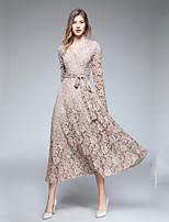 Недорогие -Жен. Классический / Элегантный стиль Рукава лепестки Оболочка Платье Кружева Средней длины