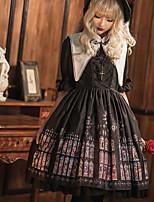 economico -Gotico Vintage Gotico Per femmina Vestiti Cosplay Nero A poeta Mezza manica Midi Costumi Halloween