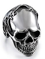 abordables -Homme Le style rétro / Stylé Bague - Acier au titane Crâne Large, Elégant, simple 8 / 9 / 10 Argent Pour Plein Air / Soirée